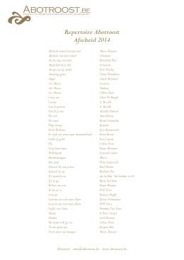 Repertoire Abotroost Afscheid 2014