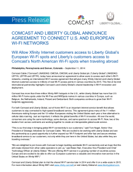 comcast and liberty global announce agreement to connect us and