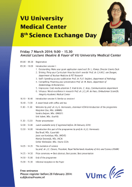 VU University Medical Center 8th Science Exchange Day Friday 7