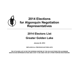 2014 Elections for Algonquin Negotiation Representatives