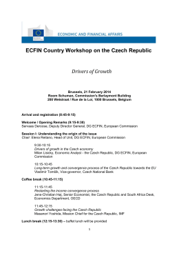 ECFIN Country Workshop on the Czech Republic Drivers of Growth