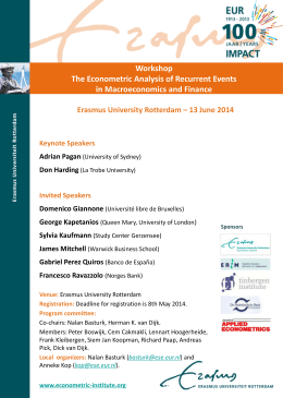 Workshop The Econometric Analysis of Recurrent Events in