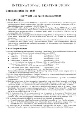 Communication No. 1889 ISU World Cup Speed Skating 2014/15