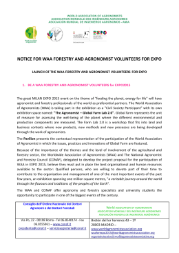 notice for waa forestry and agronomist volunteers for expo
