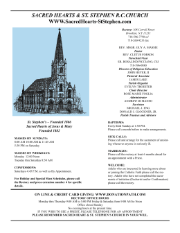 Bulletin for April 27, 2014 - Sacred Hearts