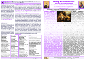 Newsletter 3rd Sunday in Lent Yr A 23rd March 2014