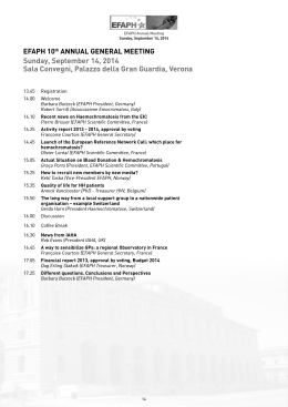EFAPH program - European Iron Club – Meeting Verona 2014