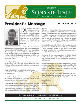 October 2014 - Sons Of Italy