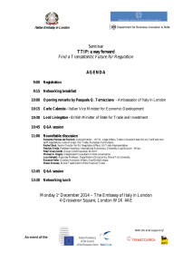 Seminar TTIP: a way forward Find a Transatlantic Future for