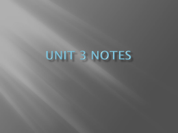 Unit 3 notes - Talbot County Schools