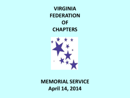 2014 Memorial Service - Virginia Federation of Chapters