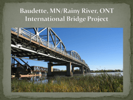 Baudette MN/Rainy River ONT International Bridge Project