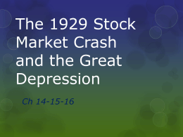 The 1929 Stock Market Crash and the Great Depression
