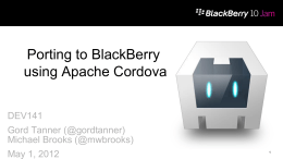 Porting to BlackBerry using Apache Cordova