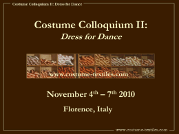 Costume Colloquium II: Costume for Dance Costume per il ballo