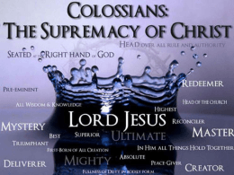 The Book of Colossians – part 1, Dr. Alan Bandy (PowerPoint)