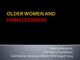 older women and homelessness - Australasian Housing Institute
