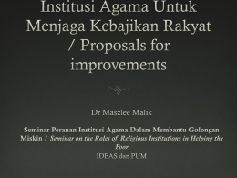 Presentation by Dr. Maszlee Malik, Lecturer, International