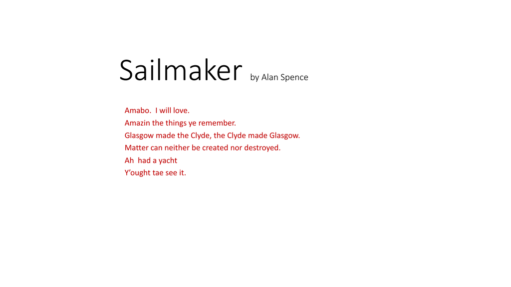 sailmaker alan spence critical essay