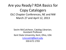 RDA - Kent State University Libraries