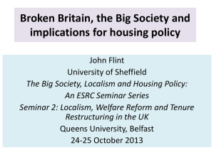 John Flint - The Big Society, Localism & Housing Policy