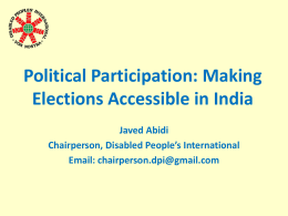 Political Participation: Making Elections Accessible in India
