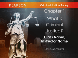 Introduction to Criminal Justice After this lecture you should be able