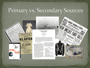 Primary vs. Secondary Sources