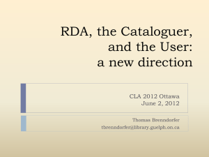 RDA and the User - Canadian Library Association