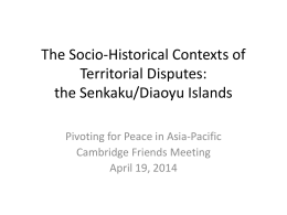 the Senkaku-Diaoyu Islands - Massachusetts Peace Action