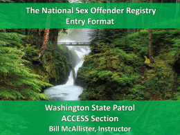 National Sex Offender Registry Entry Format