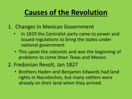 Causes of the Texas Revolution