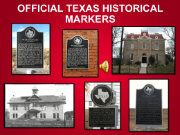 Introduction to Official Texas Historical Markers
