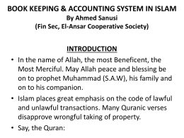 book keeping & accounting system in islam