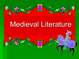 NOTES - Medieval Literature - Part 1