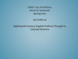 PP 06 English Political Thought in Colonial America