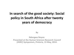 In search of the good society - Human Sciences Research Council
