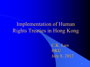 Implementation of Human Rights Treaties in Hong Kong