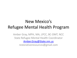 New Mexico*s Refugee Mental Health program