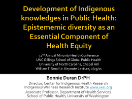 Keynote Lecture slides - Minority Health Project