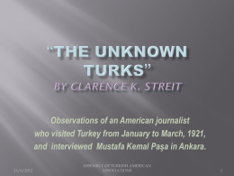 *The Unknown Turks* By Clarence K. Streit