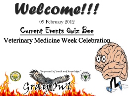 Current Events Quiz Bee Veterinary Medicine