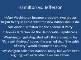 Hamilton vs. Jefferson