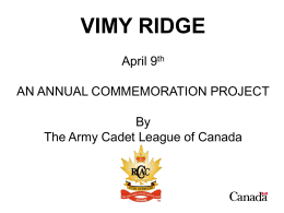 vimy ridge - The Army Cadet League of Canada