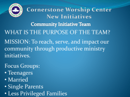 Community Initiative - RCCG Cornerstone Worship Center
