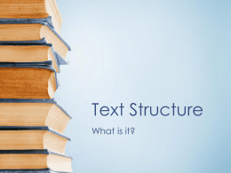 Text Structure - Coshocton City Schools