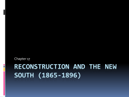 Reconstruction and the New South (1865