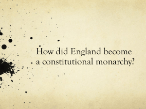 How did England become a constitutional monarchy?