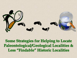 Some Strategies for Helping to Locate Paleontological