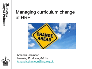 Managing curriculum change at HRP
